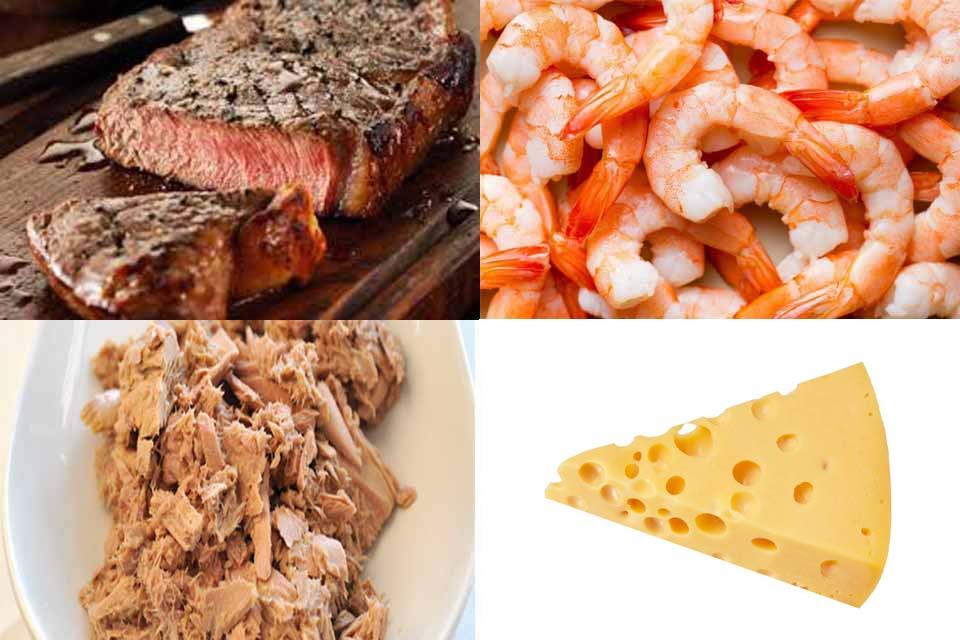 mėsa,krevetės,tunas,sūris